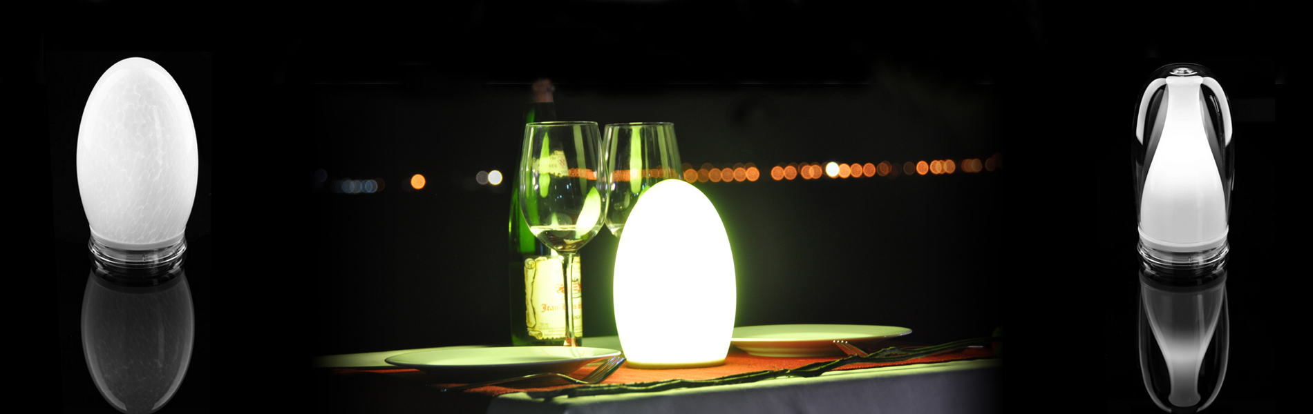 Battery powered cordless egg shape pattern table lamp