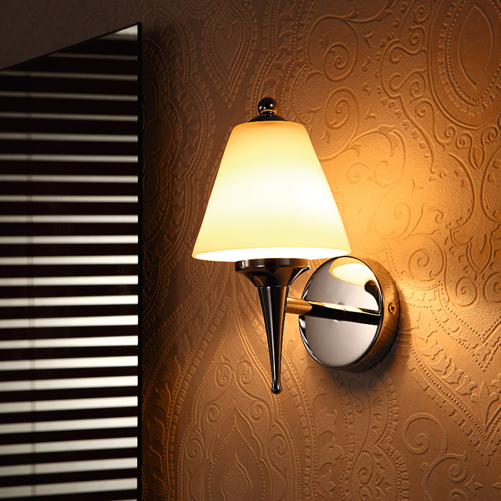 Iron Material Glass Shade Classical Torch Shape Hotel Wall Lamp
