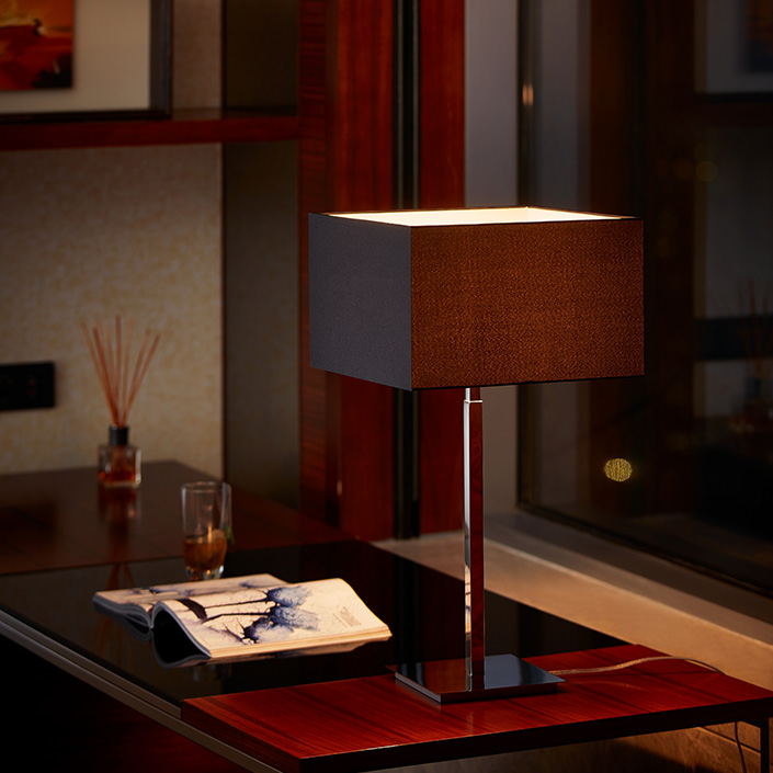 Iron Lamp Body Red Fabric Shade Modern Hotel Table Lamp