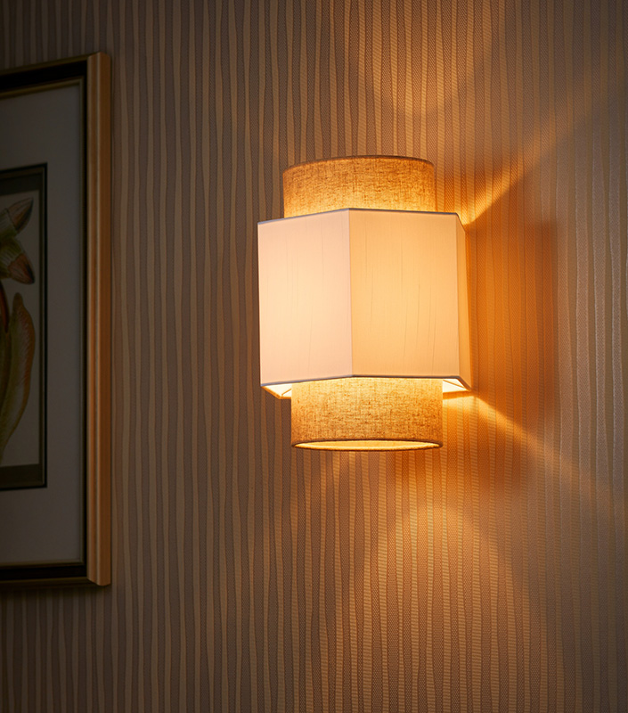 Electric Power Source Chinese Style Fabric Shade Hotel Wall Lamp