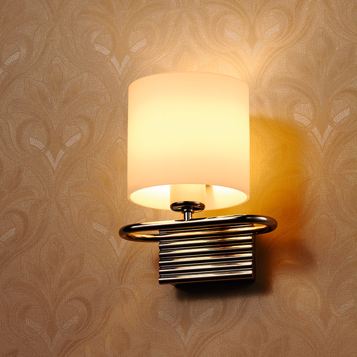Factory Wholesale Opal Glass Steel Material European Style Wall Lamp