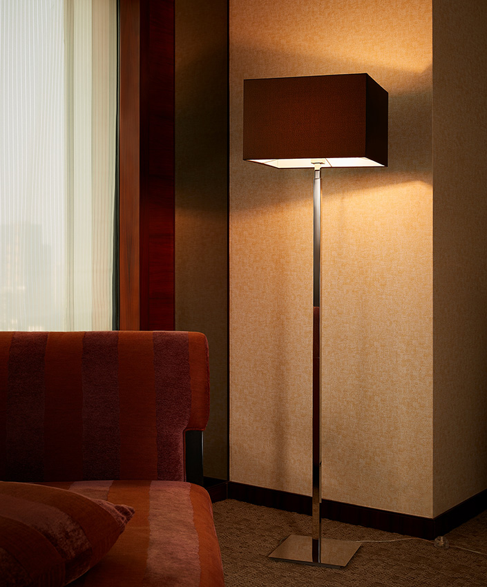 Metal Lamp Body Red Fabric Shade Hotel Decoration Floor Lamp