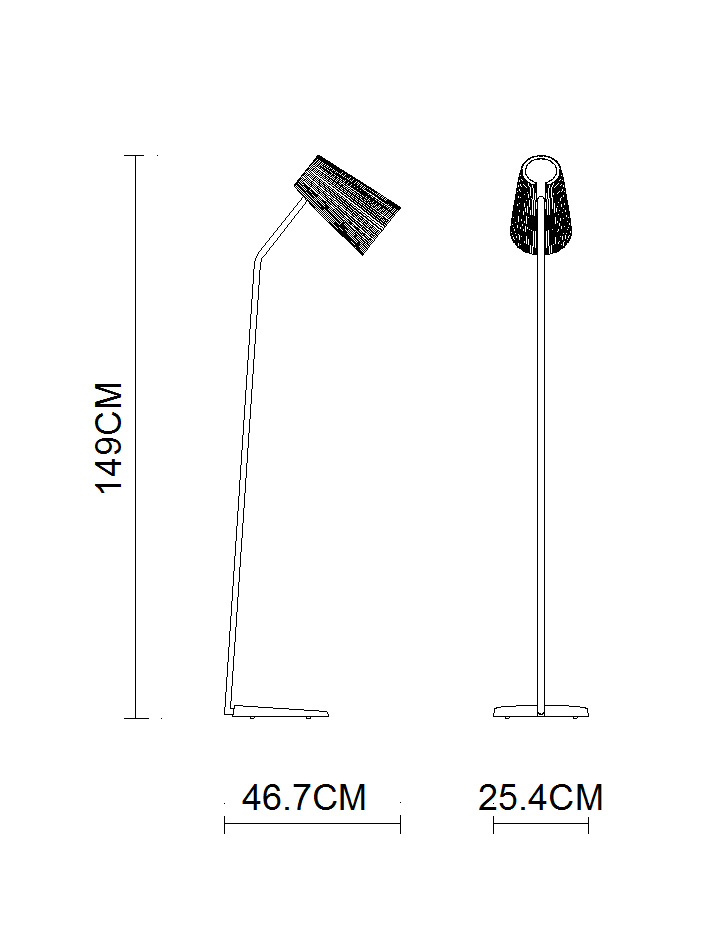 Power Outlet Metal Body Lamp Glass Shade Modern Floor Lamp