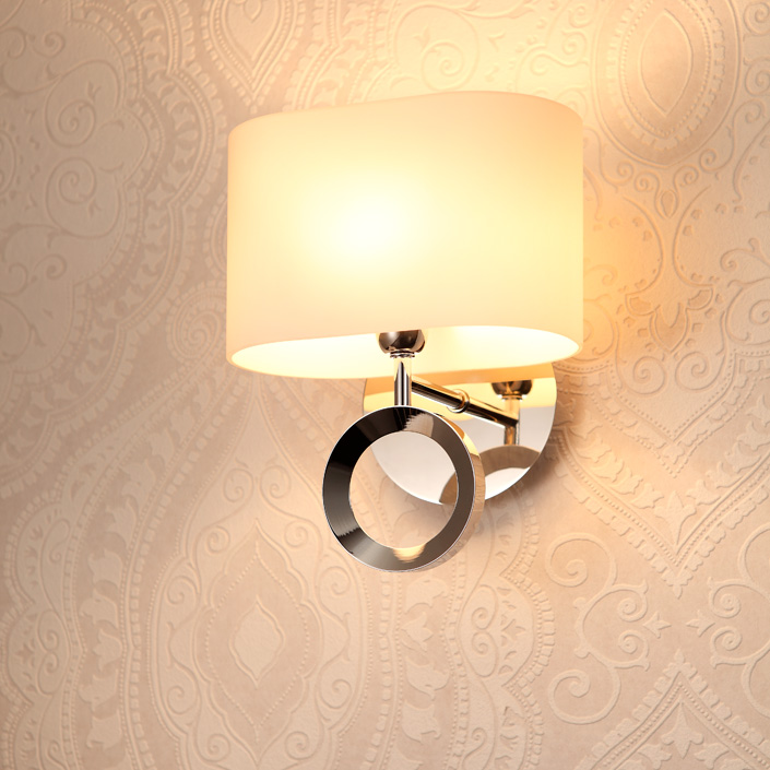 Energy Saving Stainless Steel Body Glass Shade Hotel Wall Lamp