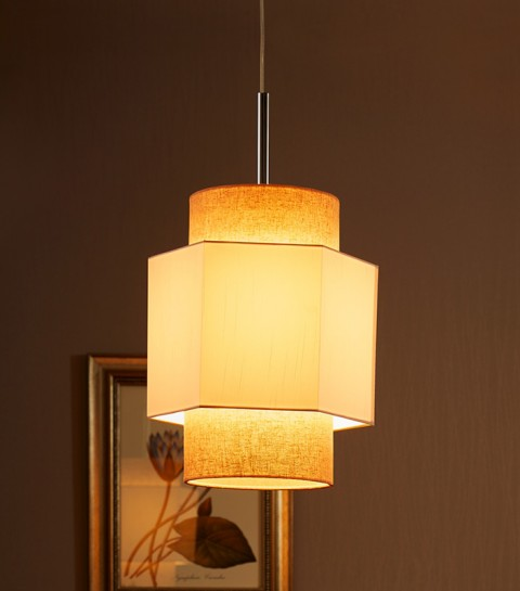 Stainless Steel Polished with fabric Pendant lightings