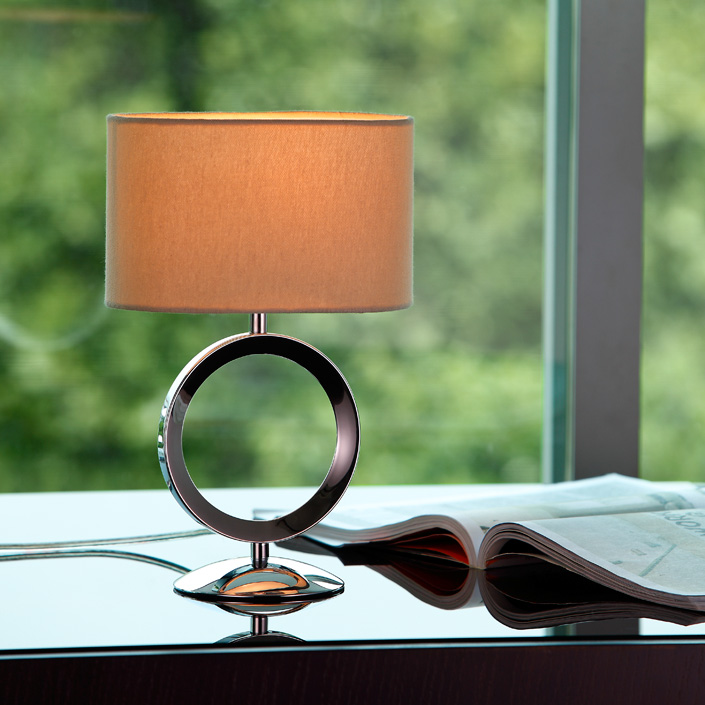 Power Outlet Fabric Shade Metal Base Modern Style Table Lamp