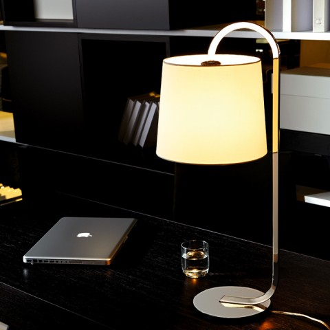 Stainless Steel body glass shade home Table Lamp