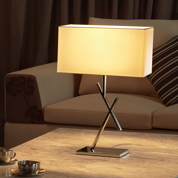 Electric Power Source Stainless Steel Home Decor Bedside Table Lamp