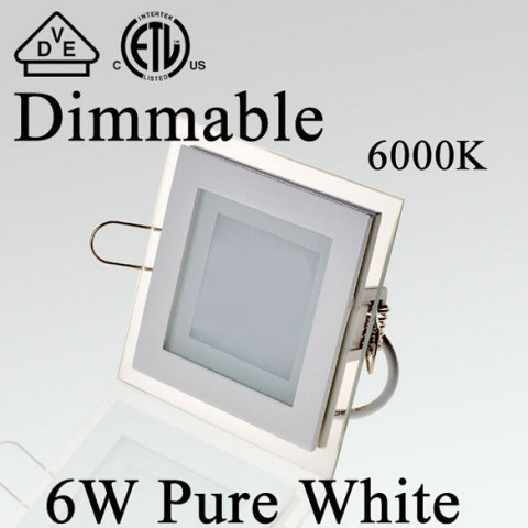Square glass led panel ceiling light