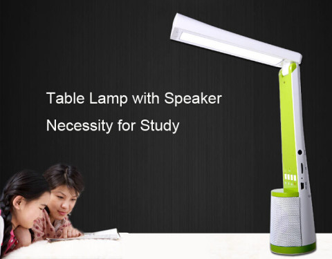Led table reading lamp with speaker