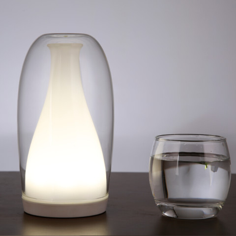 Battery powered cordless glass Jellyfish table lamp