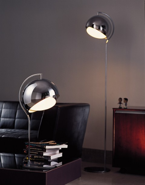 Armet Shade Polished Chrome Floor Lamp
