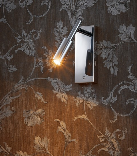 Polished Chrome Vertical Wall Lamp with USB port
