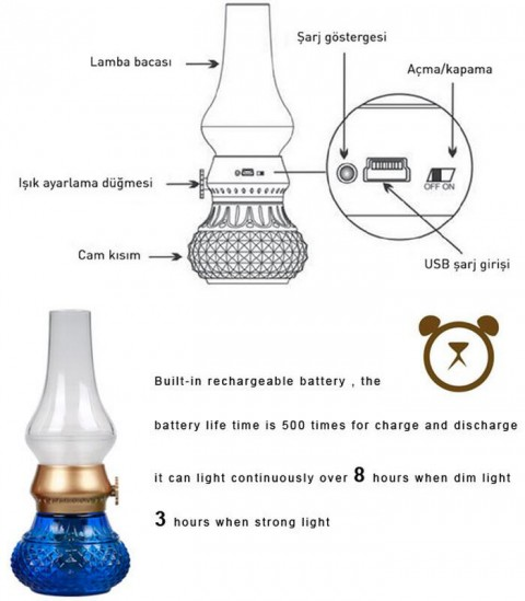 Blown electric led battery powered antique glass oil lamps