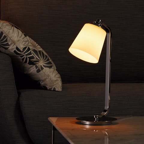 Stainless Steel base glass shade Table Lamp