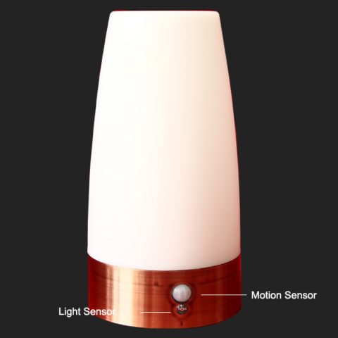 Battery Operated Round Shape Pir Motion Sensor Led Table Lamp