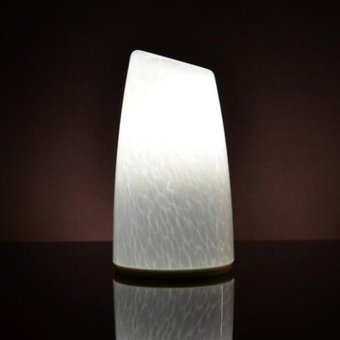 Cordless battery powered glass material hotel decorative led table lamp